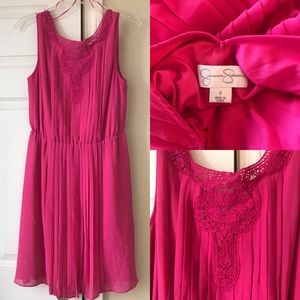 Jessica Simpson Pink Pleated dress, 6, NWOT